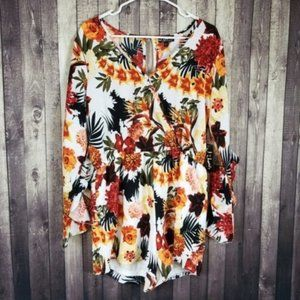 J for Justify ruffled sleeve floral romper NWT